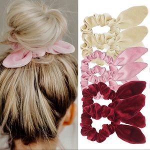 Accessories - 2 for $18❤️ Color Bunny Knot Velvet Scrunchies Set
